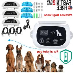 1/2/3 Electric Dog Wireless Fence Shock Collar No-Wire Pet C