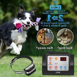 WIEZ Dog Fence Wireless & Training Collar Outdoor 2-in-1, El