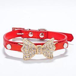 Dog PU Leather Collar Adjustable Pet Cat Puppy Crystal Rhine