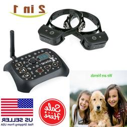 Dog Training Shock 2 Collar Fence Pet Outdoor Wireless Elect