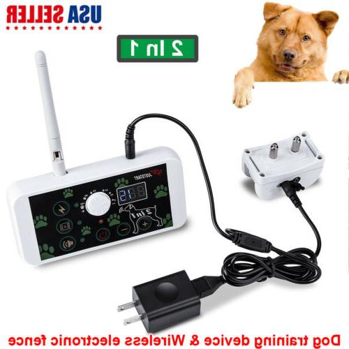 No-Wire 2-in-1 Dog Fence Wireless Waterproof Pet Containment