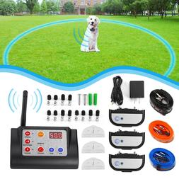 Wireless Rechargeable 1/2/3 Dog Fence Kit Pet Training Colla